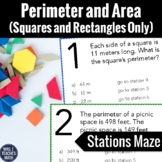 Perimeter and Area of Rectangles Word Problems Stations Ma