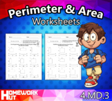 Distance Learning - Perimeter and Area Worksheets