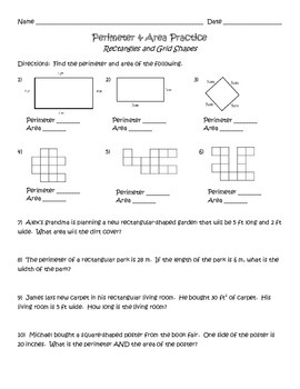 Perimeter and Area of Rectangles and Grid Shapes