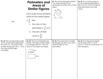 Perimeter and Area of Similar Figures Foldable