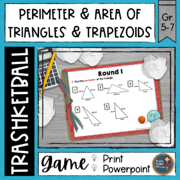 Perimeter and Area of Triangles and Trapezoids Trashketball Math Game