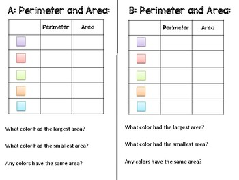 Perimeter and Area of a Rectangle Practice Mats