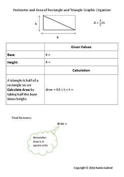 Perimeter and Area of a Rectangle and Triangle Graphic Organizer