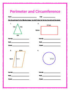 Perimeter and Circumference w/ Answer Keys