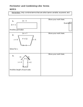 Perimeter and Combining Like Terms Notes