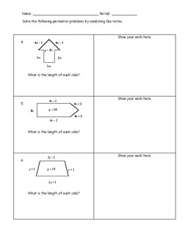Perimeter and Combining Like Terms Practice