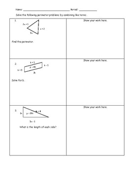Combining Like Terms Perimeter Worksheets & Teaching Resources | TpT