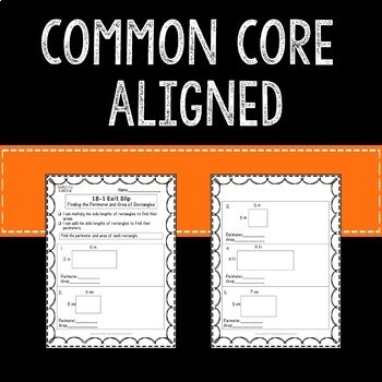 Perimeter and Complex Area Math Exit Slips 3rd Grade Common Core