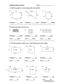 Perimeter and area review math worksheet... by Teachers in Love ...