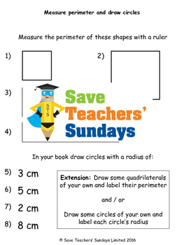 Perimeter and radius worksheets (3 levels of difficulty)