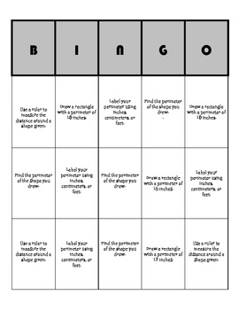Perimeter differentiated BINGO board