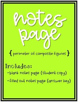 Perimeter of Composite Figures Doodle Notes