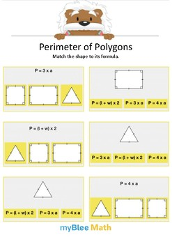 Perimeter of Polygons 3 - Match the shape - Gr 4