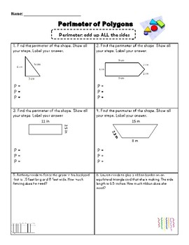 Perimeter of Polygons Practice