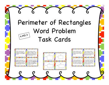 Perimeter of Rectangle Differentiated Word Problem Task Cards