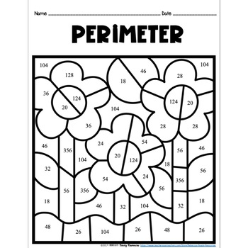 Perimeter of Rectangles Color by Number-Spring/Easter Theme