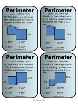 Perimeter of Rectangles and Squares Activity Task Cards (Imperial)