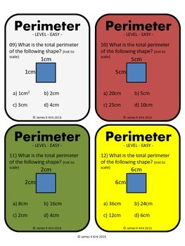 Perimeter of Rectangles and Squares Activity Task Cards (Metric)