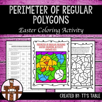 Perimeter of Regular Polygons Easter Coloring Activity
