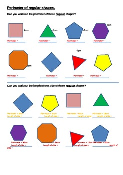 Perimeter of Regular Shapes (48 Items)
