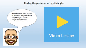 Perimeter of Right Triangle Problems - Task Cards & Interactive Video Lesson!