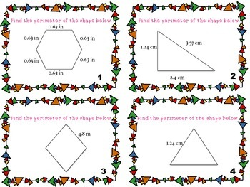 Perimeter of Shapes Task Cards