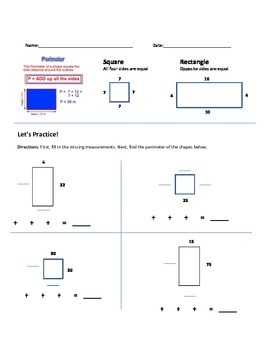 Perimeter of Square and Rectangle Worksheet
