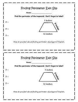 Perimeter of  Trapezoid Exit Slip