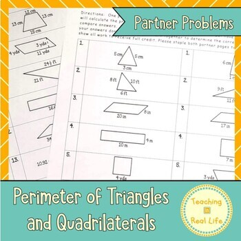 Perimeter of Triangles and Quadrilaterals Partner Page
