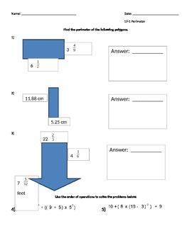 Perimeter with Fractions/Decimals