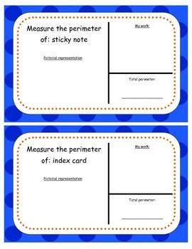 Perimeter:interactive measuring task cards