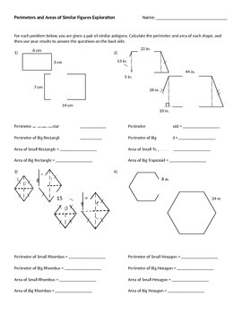 Perimeters and Areas of Similar Polygons Exploration