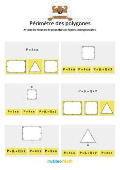 Périmètre des polygones 2 - Associer les polygones à leur périmètre -CM1