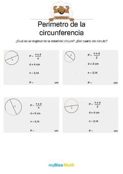 Perímetro de la circunferencia 1 -¿Longitud de la mitad del círculo?¿Del cuarto?