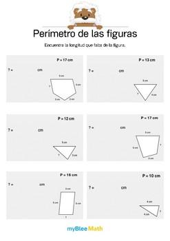 Perímetro de las figuras 1 - Encontrar la longitud que falta.