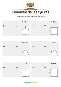 Perímetro de las figuras 2 - Encontrar la longitud que falta.