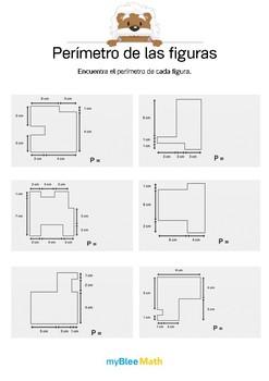 Perímetro de las figuras 4 - Encontrar el perímetro de cada figura.