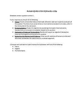 Period 4 (1450-1750 CE) Practice LEQs (2017 Rubric)