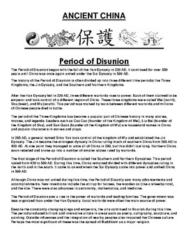 Period of Disunion ancient China Article and Assignment