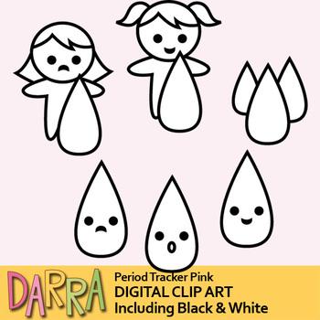 Period tracker clip art / planner girl clipart