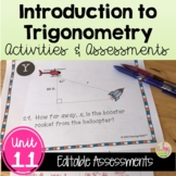 Algebra 2 Introduction to Trigonometry Review-Quiz-Test Bundle