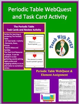 Periodic Table Activity Bundle-Task Card Activity, WebQuest & Element Assignment