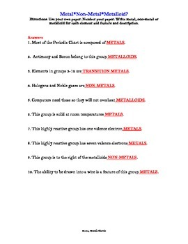 Periodic Table Activity-Three Major Divisions II