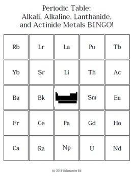 Periodic Table - Alkali, Alkaline, Lanthanide, and Actinide Series - BINGO