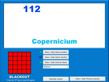 Periodic Table BINGO Game and Computer Caller