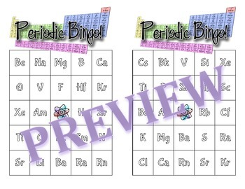 Periodic Table Bingo Game