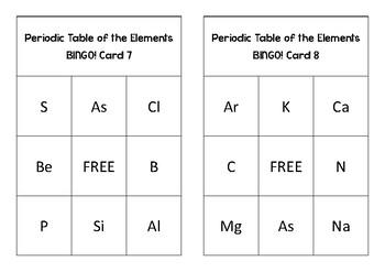 Periodic Table Bingo Game