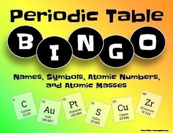 Periodic table bingo names symbols atomic numbers and atomic masses urtaz Image collections