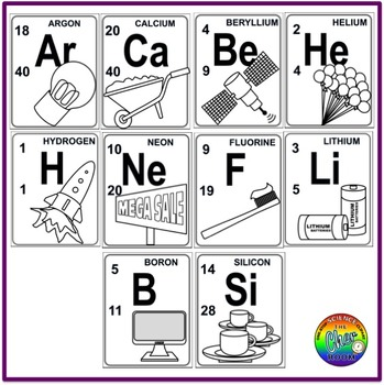 Periodic Table Clipart (Chemistry, Elements, Metals, Non-metals)