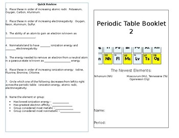 Periodic Table Trends Colorbook 2